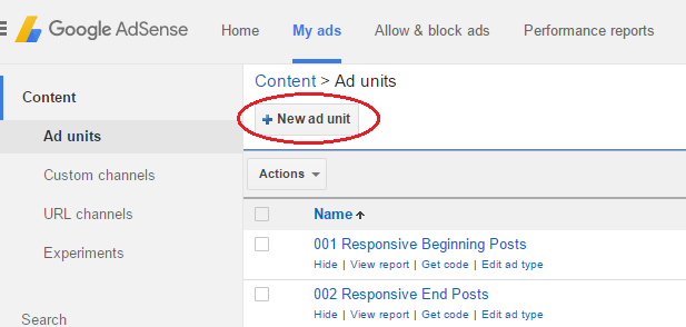 create unit adsense