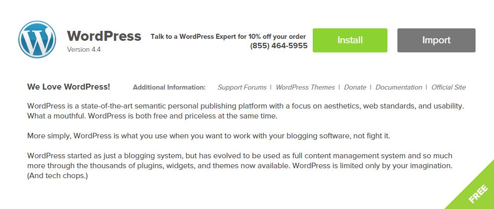 step 11 - install wordpress for free