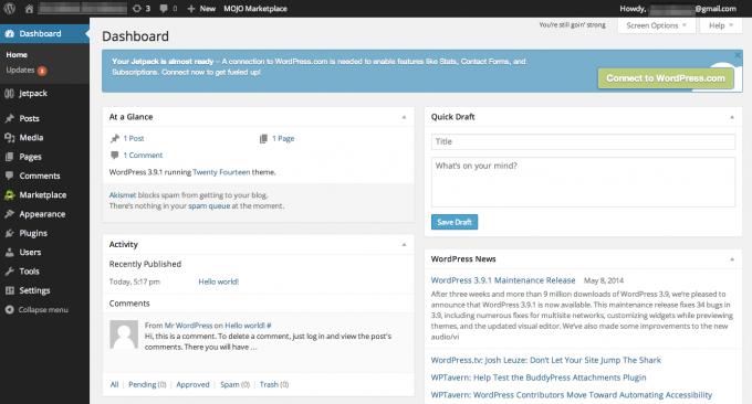 step 17 - wordpress main page