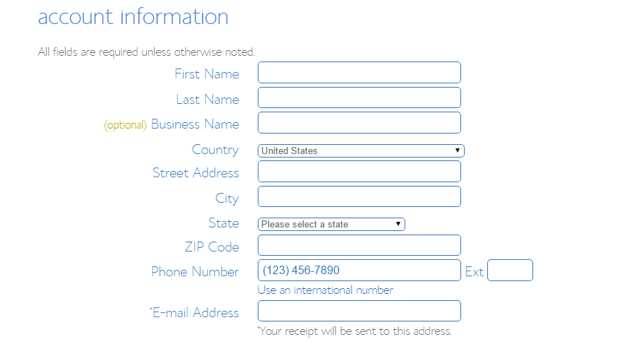 step 4 - account information