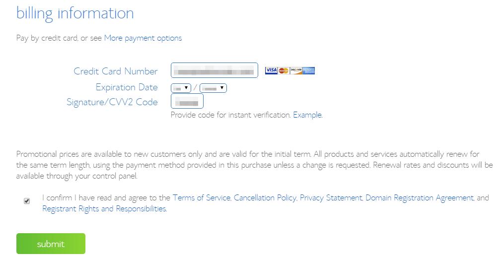 step 6 - billing information